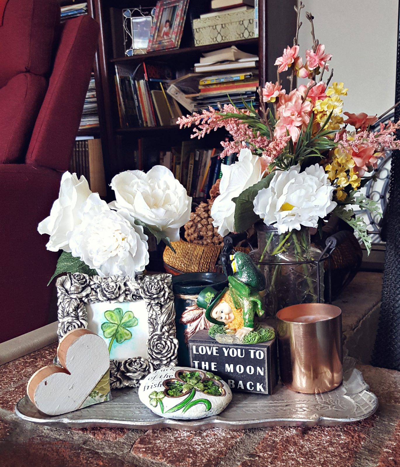 St. Patricks Day display, coping with Arthritis pain with items that make you happy.